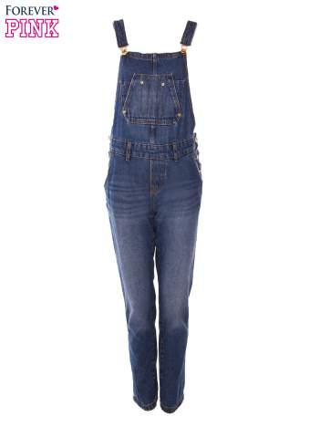 Ciemnoniebieskie ogrodniczki jeansowe z kieszeniami