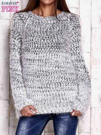 Czarny melanżowy sweter long hair