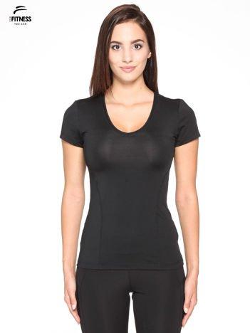 Czarny termoaktywny t-shirt sportowy z siateczką z tyłu ♦ Performance RUN