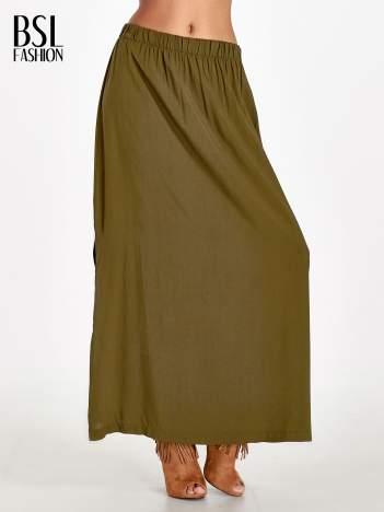 Khaki spódnica maxi z rozporkiem
