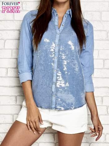 Niebieska denimowa koszula z aplikacją z cekinów