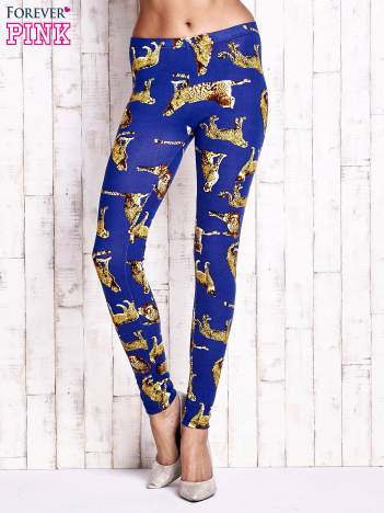 Niebieskie legginsy w gepardy