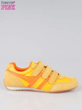 Pomarańczowe buty sportwe na rzepy