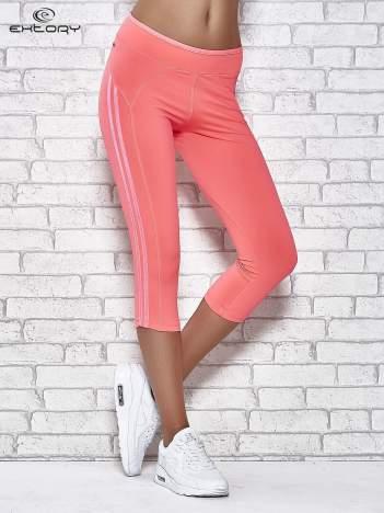 Różowe legginsy 3/4 sportowe termalne z lampasami