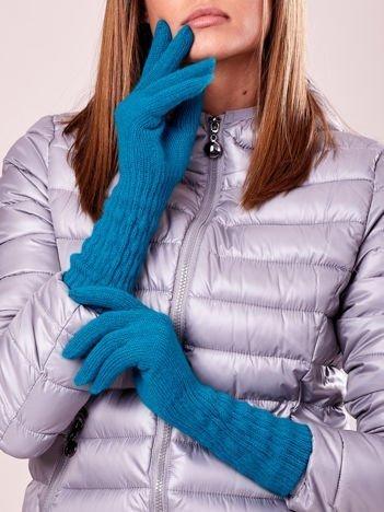 Turkusowe długie rękawiczki z drapowanym rękawem