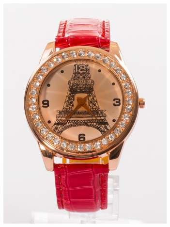 Zegarek damski z cyrkoniami z motywem wieży Eiffla na tarczy na skórzanym lakierowanym pasku