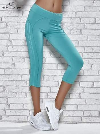 Zielone legginsy 3/4 sportowe termalne z lampasami