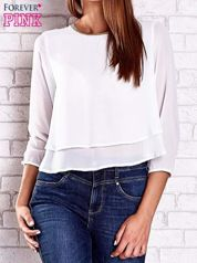 Biała bluzka koszulowa z biżuteryjnym dekoltem