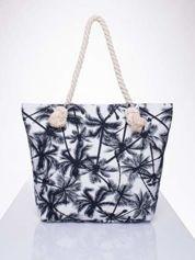 Butik Biała plażowa torba w palmy na sznurku