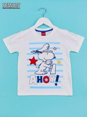 Biało-niebieski t-shirt chłopięcy FISTASZKI