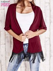 Bordowy sweter z podwijanymi rękawami i frędzlami na dole