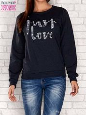 Ciemnoszara bluza z napisem JUST LOVE i perełkami