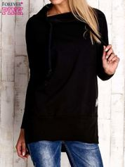 Czarna asymetryczna tunika z troczkami