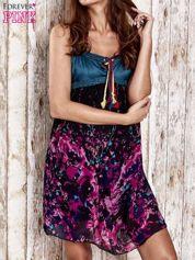 Czarna kwiatowa sukienka z kolorowymi troczkami