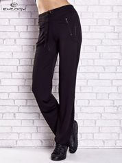 Czarne spodnie dresowe z kieszeniami i przeszyciami PLUS SIZE