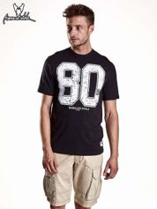 Butik Czarny t-shirt męski z nadrukiem cyfr