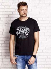 Czarny t-shirt męski z napisem BROOKLYN ATHLETIC UNIVERSITY