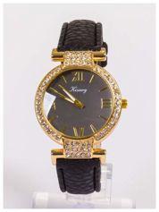 Damski zegarek z ozdobnymi cyrkoniami. Bardzo szykowny.