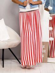 Długa spódnica maxi w biało-czerwone paski