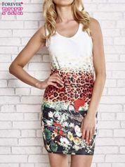 Ecru dopasowana sukienka z motywem pantery