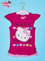 Fuksjowy t-shirt dla dziewczynki z falbankami HELLO KITTY
