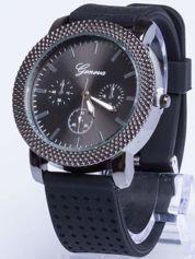 GENEVA Czarny zegarek damski na miękkim żelowym pasku