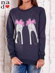 Grafitowa bluza z nadrukiem szpilek