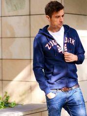 Granatowa bluza męska z kapturem i napisem ZOO YORK