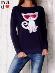 Granatowa bluza z aplikacją kota
