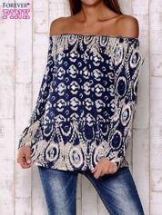 Granatowa bluzka w malarskie desenie