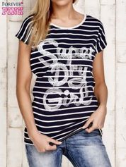 Granatowy t-shirt w białe paski z napisem SUPER DRY GIRL
