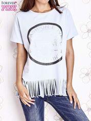 Jasnoniebieski t-shirt z nadrukiem i frędzlami