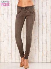 Khaki spodnie skinny z suwakami