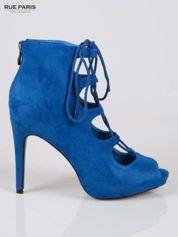 Butik Kobaltowe sznurowane botki lace up open toe z zamkiem