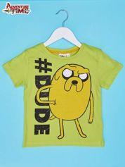 Limonkowy t-shirt chłopięcy z motywem ADVENTURE TIME