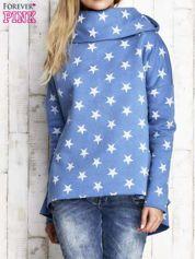 Niebieska ocieplana bluza w gwiazdki