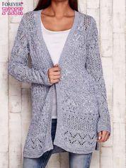 Niebieski melanżowy ażurowy sweter