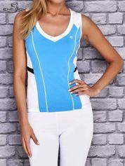 Niebiesko-biały damski top sportowy z nadrukiem na plecach