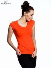 Pomarańczowy damski t-shirt sportowy basic
