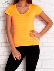 Pomarańczowy damski t-shirt sportowy w paski