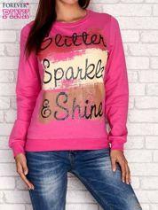 Różowa bluza z napisem GLITTER SPARKLE SHINE