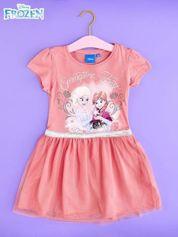 Różowa sukienka dla dziewczynki z tiulowym wykończeniem FROZEN