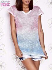 Różowy t-shirt z efektem jasnoniebieskiego ombre