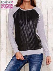 Szara bluza z czarną pikowaną wstawką