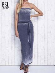Szara dekatyzowana sukienka maxi na gumkę