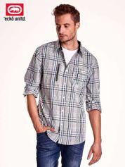 Szara koszula męska w kratę z suwakiem