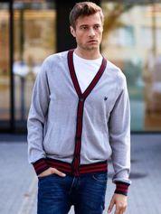 Szary sweter męski z kolorową lamówką