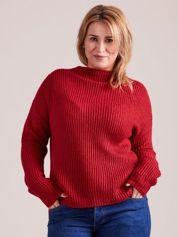 TOM TAILOR Czerwony wełniany sweter o grubszym splocie