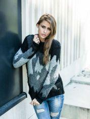 TOM TAILOR Szary wełniany sweter z abstrakcyjnym deseniem