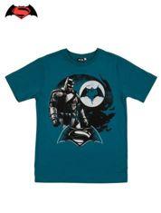Turkusowy t-shirt męski z motywem BATMAN V SUPERMAN